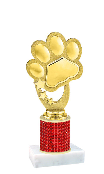 Rhinestone Trophy! Paw Figure. Column is completely covered with rhinestones.  Choice of stone color and trophy height.