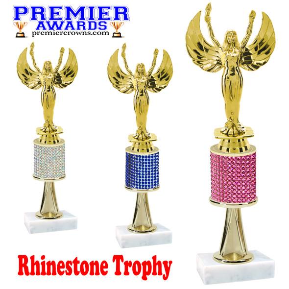 "Rhinestone Trophy! Victory  Figure.  Trophy height starts at 10"" tall.  Rhinestone column.  Choice of stone color and trophy height.   Victory figure with stem"