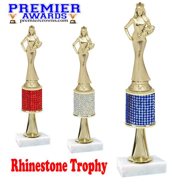 "Rhinestone Trophy! Queen  Figure.  Trophy height starts at 10"" tall.  Rhinestone column.  Choice of stone color and trophy height.   Sr. Queen figure with stem"