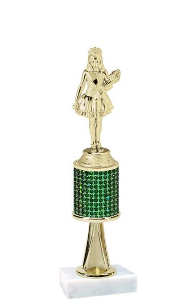 "Rhinestone Trophy! Queen  Figure.  Trophy height starts at 10"" tall.  Rhinestone column.  Choice of stone color and trophy height.   JR Queen figure with stem"