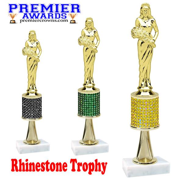 "Rhinestone Trophy! Queen  Figure.  Trophy height starts at 10"" tall.  Rhinestone column.  Choice of stone color and trophy height.   Queen figure with stem"