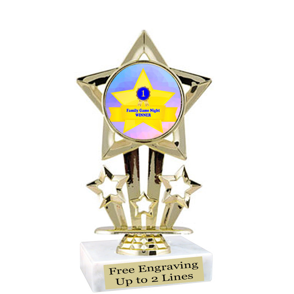 """Game night trophy.  6""""tall with choice of insert design.  Great award for your Family Game Nights!  767"""
