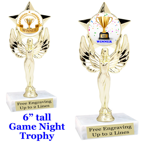 """Game night trophy.  6""""tall with choice of insert design.  Great award for your Family Game Nights!  7517"""