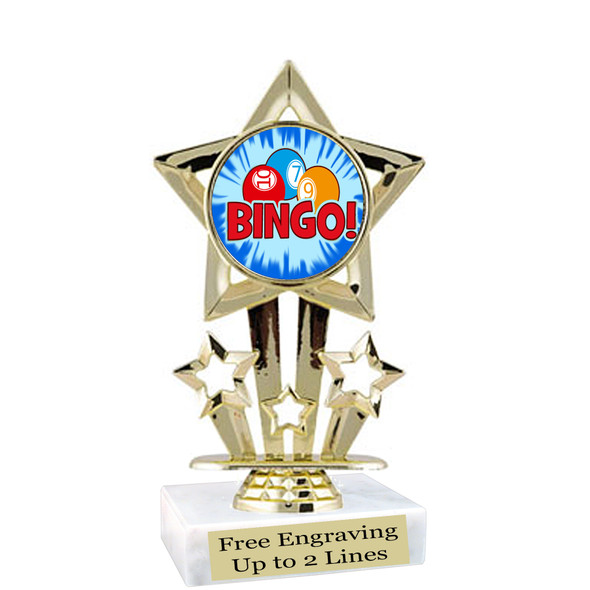 "BINGO!  trophy.  6""tall with choice of insert design.  Great award for your Bingo games and  Family Game Nights! 767"