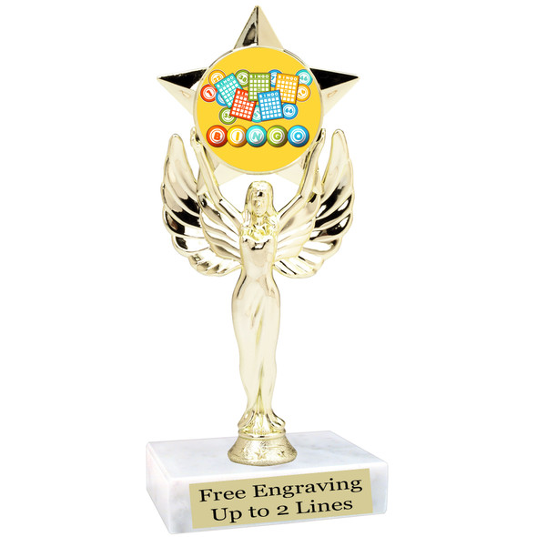 """BINGO!  trophy.  6""""tall with choice of insert design.  Great award for your Bingo games and  Family Game Nights! 7517"""