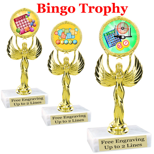 """BINGO!  trophy.  6""""tall with choice of insert design.  Great award for your Bingo games and  Family Game Nights! 80087"""
