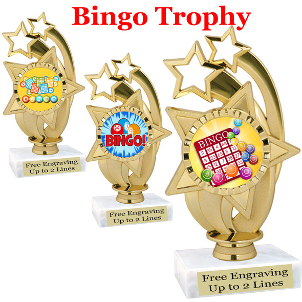 """BINGO!  trophy.  6""""tall with choice of insert design.  Great award for your Bingo games and  Family Game Nights! ph55"""