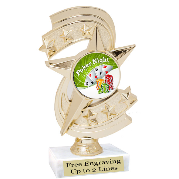 """POKER  trophy.  6""""tall with choice of insert design.  Great award for your Poker games and  Family Game Nights! h300"""