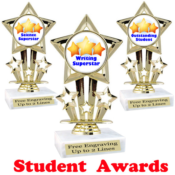 "Student award  trophy. 6"" tall.  9 Designs available. (767"