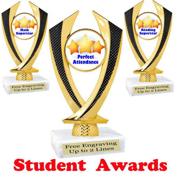 "Student award  trophy. 6"" tall.  9 Designs available. (4516"