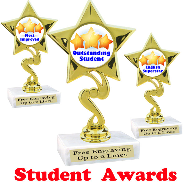 "Student awards  trophy. 6"" tall.  9 Designs available. (80106"