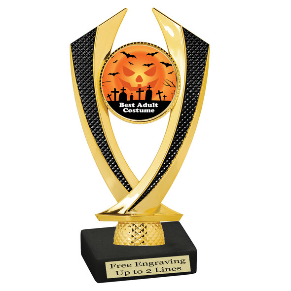 """6"""" tall  Halloween Costume Contest theme trophy.  Choice of art work and base.  9 designs available. 4516"""