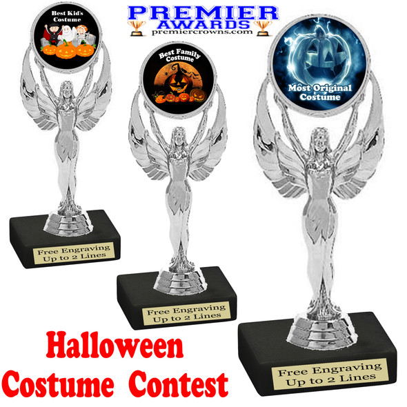 """6"""" tall  Halloween Costume Contest theme trophy.  Choice of art work and base.  9 designs available. 6010"""