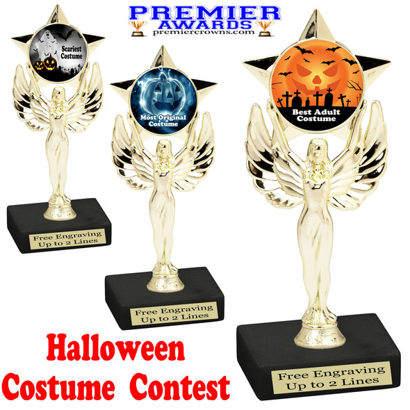 """6"""" tall  Halloween Costume Contest theme trophy.  Choice of art work and base.  9 designs available. 7517"""