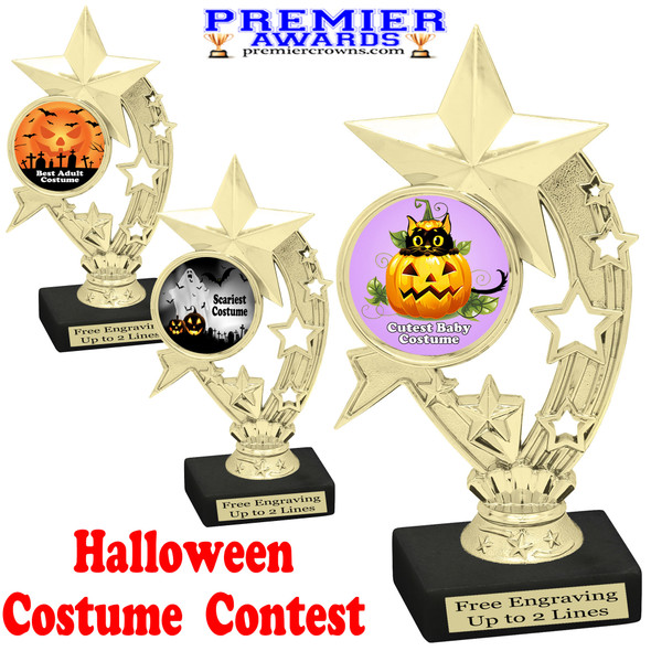 """6"""" tall  Halloween Costume Contest theme trophy.  Choice of art work and base.  9 designs available. h208"""