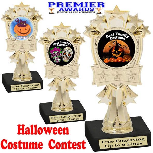 """6"""" tall  Halloween Costume Contest theme trophy.  Choice of art work and base.  9 designs available. mf3260"""