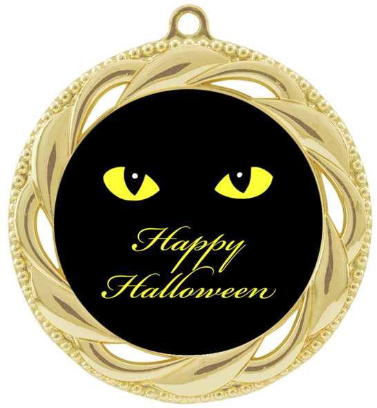 Halloween theme medal.  Choice of art work.  Includes free engraving and neck ribbon - 938G