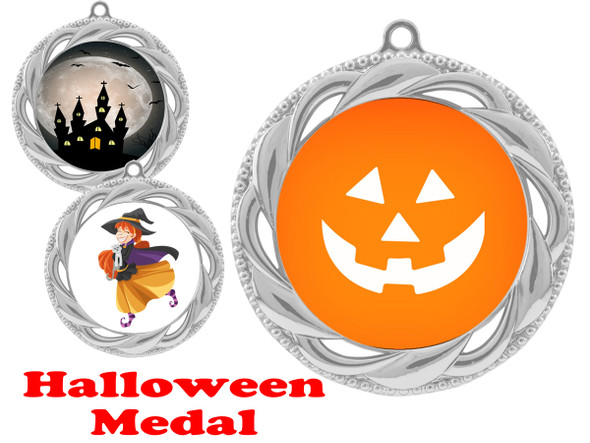 Halloween theme medal.  Choice of art work.  Includes free engraving and neck ribbon - 938s
