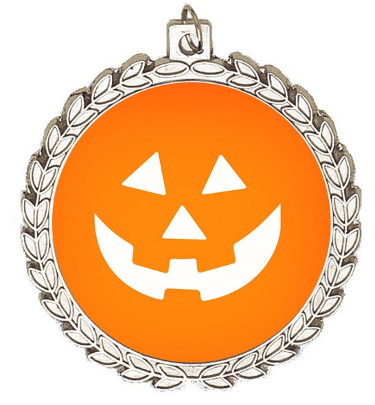 Halloween theme medal.  Choice of art work.  Includes free engraving and neck ribbon - m70s