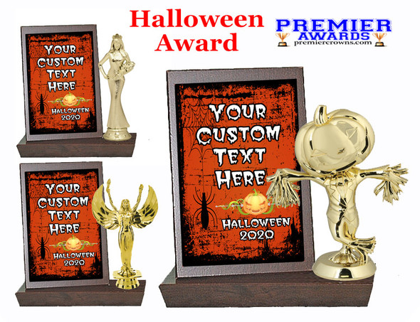 Halloween theme Plaque and Figure.   A unique award for all of your Halloween theme events and contests