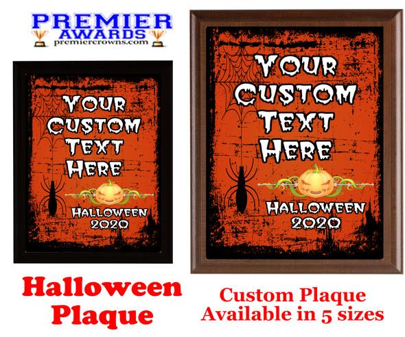 Halloween Custom Full Color Plaque.  Choice of black or brown plaque with full color plate.  5 Plaques sizes available -halloween 001