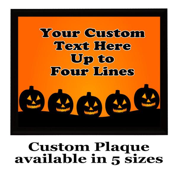 Halloween Custom Full Color Plaque.  Choice of black or brown plaque with full color plate.  5 Plaques sizes available -halloween 002