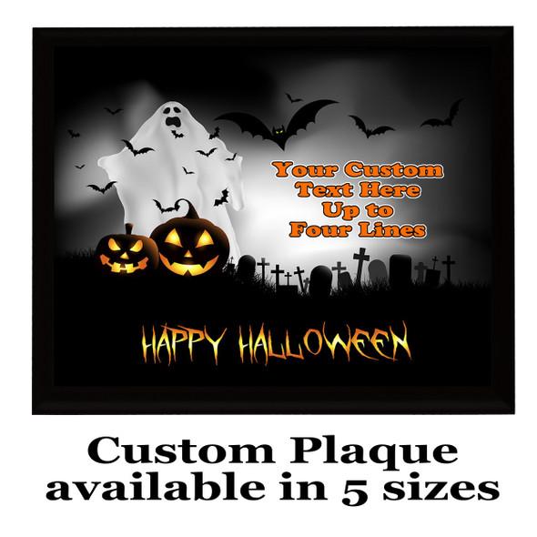 Halloween Custom Full Color Plaque.  Choice of black or brown plaque with full color plate.  5 Plaques sizes available -halloween 004