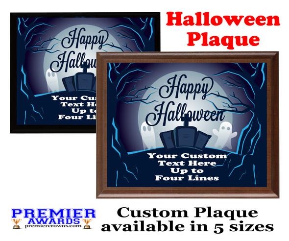 Halloween Custom Full Color Plaque.  Choice of black or brown plaque with full color plate.  5 Plaques sizes available -halloween 005