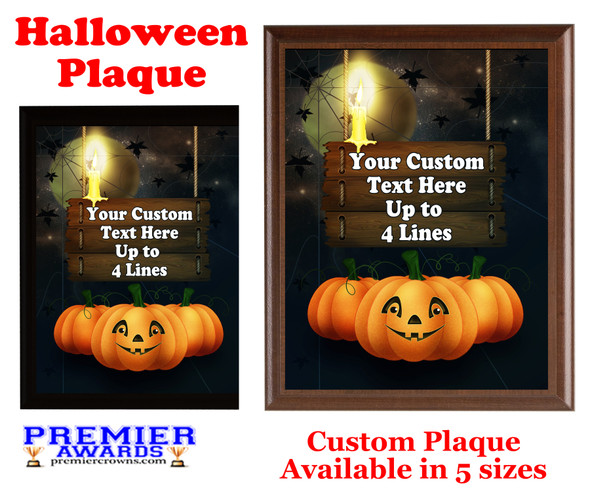 Halloween Custom Full Color Plaque.  Choice of black or brown plaque with full color plate.  5 Plaques sizes available -halloween 007
