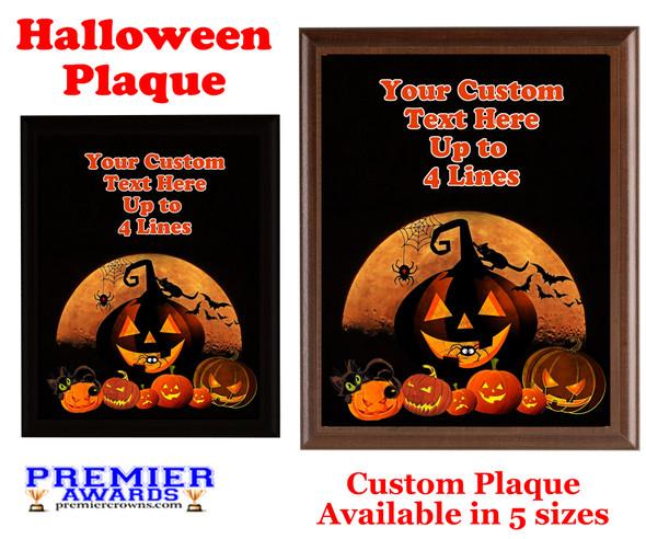Halloween Custom Full Color Plaque.  Choice of black or brown plaque with full color plate.  5 Plaques sizes available -halloween 009