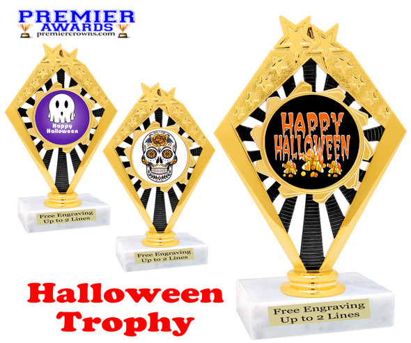 Halloween theme trophy.  Choice of art work and base.  9 designs available. 92656
