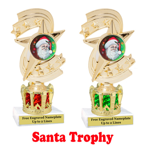 Santa Trophy with gold crown riser.  Great trophy for your Holiday events, pageants and more.  h300