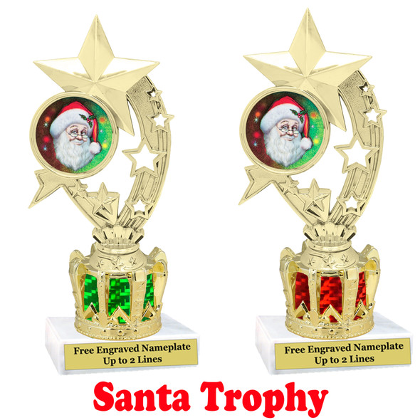 Santa Trophy with gold crown riser.  Great trophy for your Holiday events, pageants and more.  h208