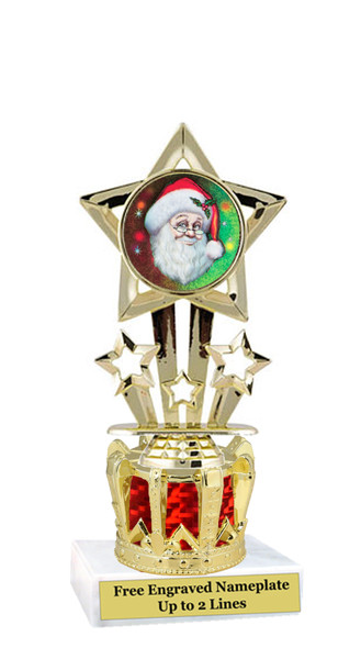 Santa Trophy with gold crown riser.  Great trophy for your Holiday events, pageants and more.  767
