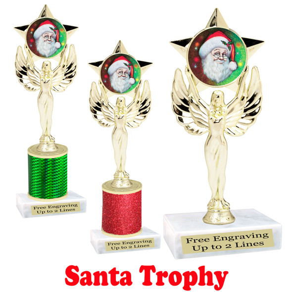 Santa trophy.  Perfect for your Holiday pageants, events, contests and more!  7517