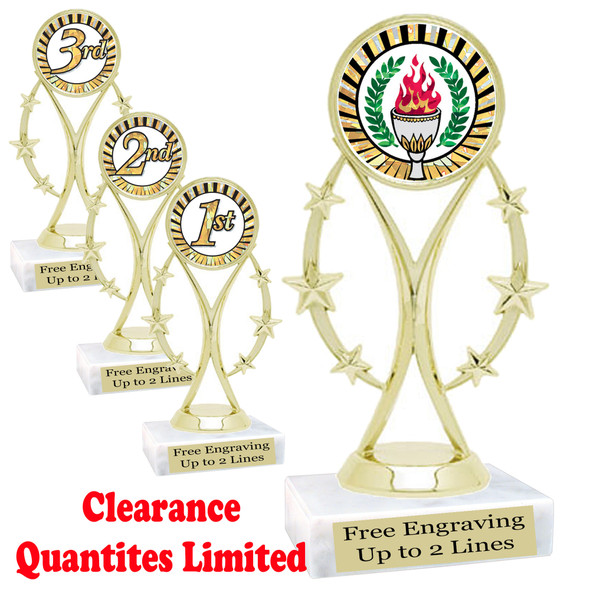 "Discontinued - clearance trophy.  6"" tall with limited quantities.  8559"