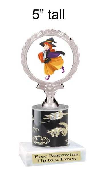 """Halloween theme trophy.  5"""" tall trophy.  Delightful trophy for your Halloween pageants, events, contests and more"""