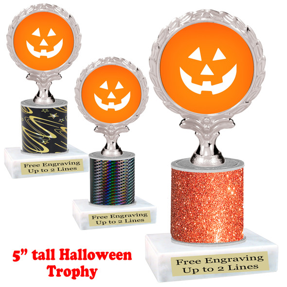 """Halloween theme trophy.  5"""" tall trophy.  Delightful trophy for your Halloween pageants, events, contests and more.  002"""