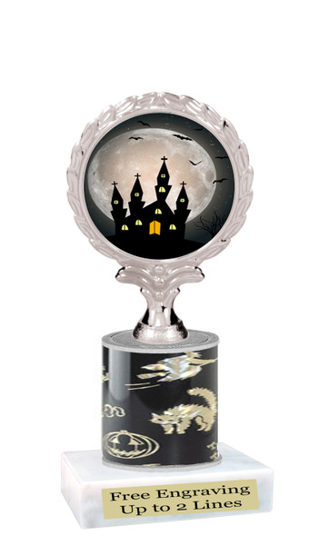"""Halloween theme trophy.  5"""" tall trophy.  Delightful trophy for your Halloween pageants, events, contests and more.  003"""