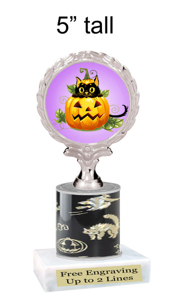"""Halloween theme trophy.  5"""" tall trophy.  Delightful trophy for your Halloween pageants, events, contests and more.  004"""