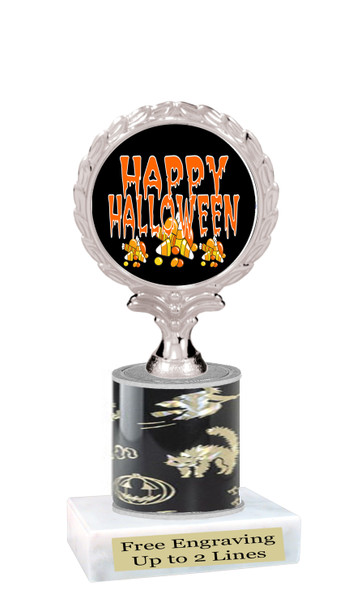 """Halloween theme trophy.  5"""" tall trophy.  Delightful trophy for your Halloween pageants, events, contests and more.  005"""