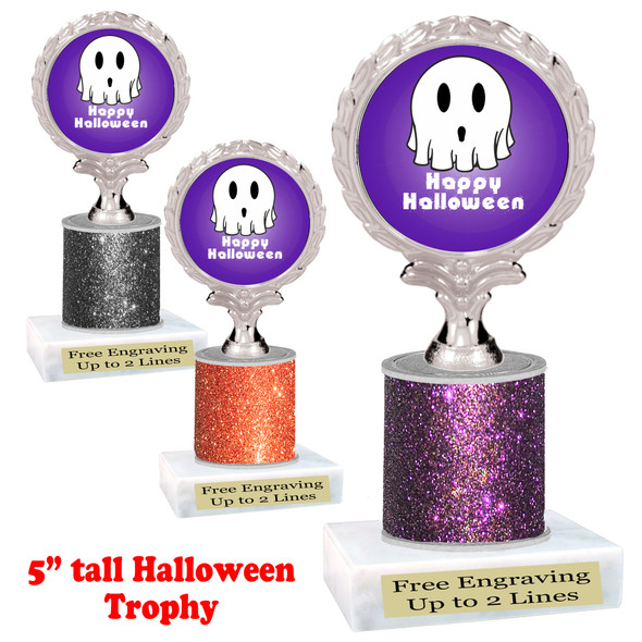 """Halloween theme trophy.  5"""" tall trophy.  Delightful trophy for your Halloween pageants, events, contests and more.  006"""