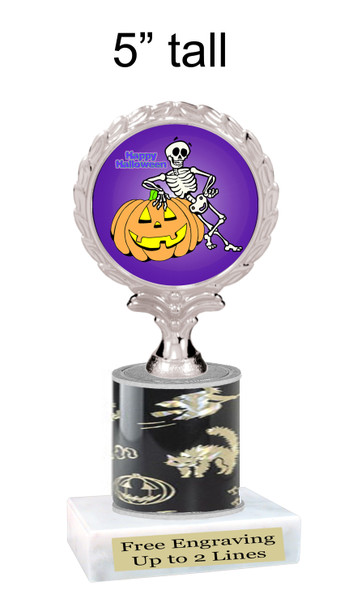 """Halloween theme trophy.  5"""" tall trophy.  Delightful trophy for your Halloween pageants, events, contests and more.  007"""
