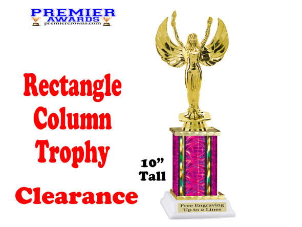 """Clearance - Discontinued Fuchsia Rectangle 1 Column trophy.  10"""" tall with victory"""