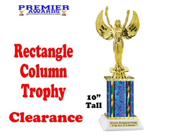 "Clearance - Discontinued Blue Rectangle 1 Column trophy.  10"" tall with victory"