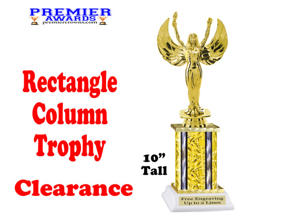 """Clearance - Discontinued Gold Rectangle 1 Column trophy.  10"""" tall with victory"""