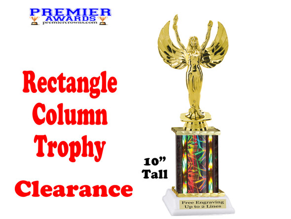 "Clearance - Discontinued Black Rectangle 1 Column trophy.  10"" tall with victory"