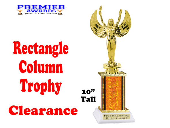 """Clearance - Discontinued Orange Rectangle 1 Column trophy.  10"""" tall with victory"""