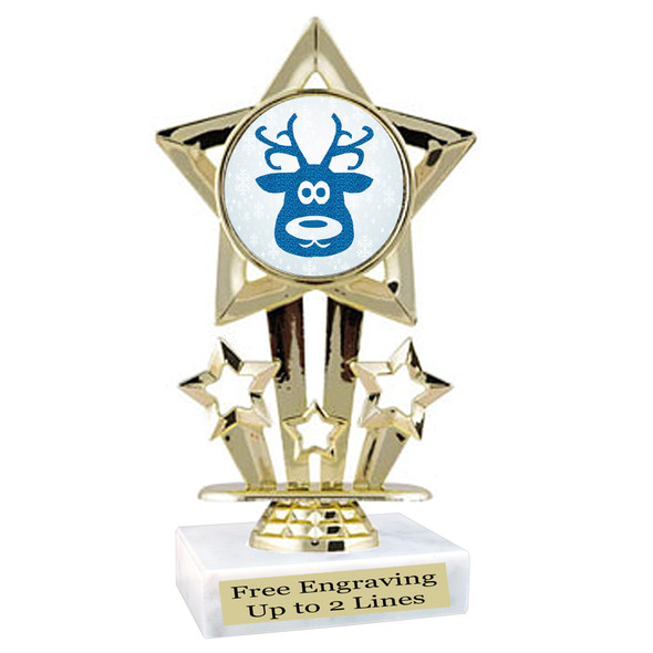 Glitter Reindeer trophy.  Great trophy for all of your holiday events and pageants.