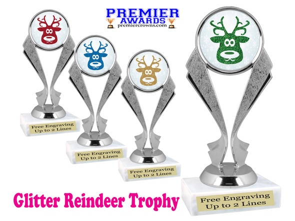 Glitter Reindeer trophy.  Great trophy for all of your holiday events and pageants.  5096